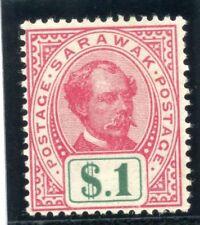 Sarawak 1899 QV $1 rose-carmine & green MLH. SG 47. Sc 47.