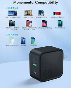 RAVPOWER USB C Charger 65W Fast Wall Charger, PD3.0 GaN Tech 2Port Power Adapter