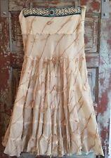 ALBERTO MAKALI  Hippie/Boho MAXI-Skirt Real Turquoise & Fringe Sz.12 BOHO CHIC!!