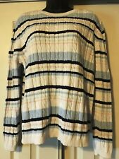 WOMENS PLUS SIZE SWEATER XL 1X WHITE BLUE AND PINK STRIPED 100% COTTON CHEROKEE