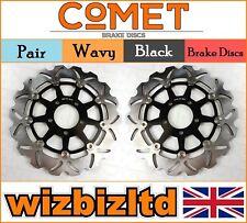 COMET Par Negro Ondulado Discos de freno delanteros suzuki gsxr 1000 K4 04