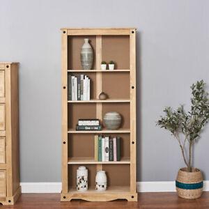 Panana Solid Wood Pine Large Bookcase Tall 5 Shelf Display Book Shelves Unit UK
