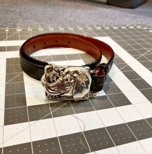 Barry Kieselstein-Cord Tobar Silver Elephant Buckle with Genuine Lizard Belt