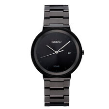 Seiko Men's Solar All Black Stainless Steel Black Dial with Date Watch SNE481