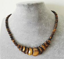 "Fashion Natural Tiger's Eye Stone Round & Coin Gemstone Beads Necklace 17.5""AAA"