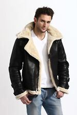 Men's Aviator B3 Bomber Military Faux Shearling Black Leather Jacket with Hoodie