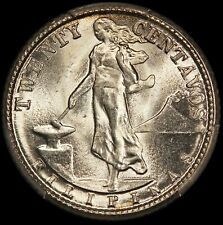 1945-D U.S. Philippines 20 Centavos Silver Coin - PCGS MS 66 - KM# 182