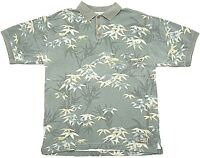 Tommy Bahama original Mens Polo Shirt Olive Floral Print 100% cotton Medium GUC