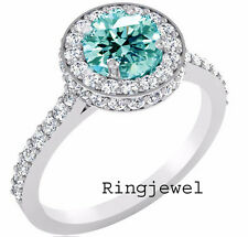 Moissanite Round .925 Silver Ring-Video 4.14ct.+ D-h=Color vvs1/Great White Blue