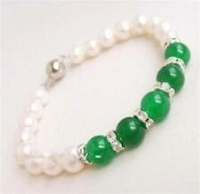 Charming! 7-8mm White Natural Pearl & Green Jade Bracelet 7.5""