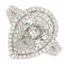 18kt H SI 2.77ct Pear Shape Double Halo Pavé Diamond Engagement Ring Certified