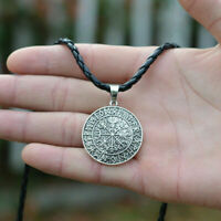Punk Runic Compass Necklace Norse Vikings Amulet Runes Pendant Necklace