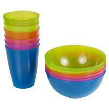 Kids 12 Pcs Colourful Reusable Plastic Bowls & Cups Set Breakfast Cereal Juice