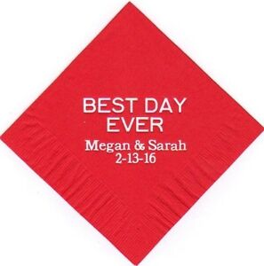 BEST DAY EVER LOGO 50 Personalized printed cocktail beverage napkins wedding