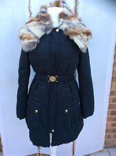 Stunning Miss Sixty Black Fur Trimmed Parka Coat - BNWT