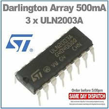 3 x ST Micro ULN2003A Darlington Array  500mA  DIP16 (Pack of 3)