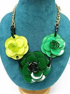 Chunky Resin flower Green statement collar bib chains pendant necklace