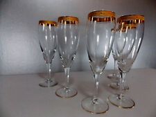 LOT N°1- 6 ANCIENNES FLUTES A CHAMPAGNE BORDURE DOREE