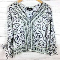 Lulus Women's White and Blue Print Top Floral Crop Top Button Front Tied Cuffs S