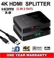 HDMI v2.0 Splitter 1 In 2 Out HDCP 1.4 4K@60Hz UHD 3D Ultra HD For PC HDTV TV AU
