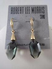 Robert Lee Morris matte gold tone~smokey crystal drop earrings, NWT