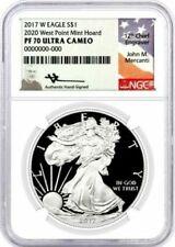 2017 W 1 $Prueba Plata Eagle 2020 West Mint Tesoro PF70 NGC John Point Mercanti