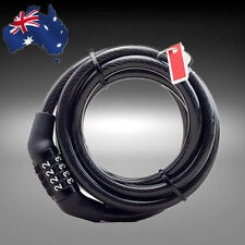 Bike Bicycle Code Combination Lock Black 4-Digital Steel Cable HLOCK2501