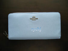 NWT COACH CROSSGRAIN LEATHER ACCORDION ZIP WALLET PALE BLUE TEAL 52976