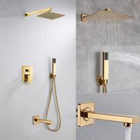 30*30 cm Unterputz Duschset Duschsystem Bad Wasserhahn Gold Regen mit Handbrause