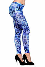 Leggings da donna in cotone blu