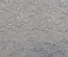 White Gatsby Tulle Soutache Embroidery Fabric Lace Scalloped Edge Apparel Prom