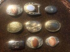 Lot of 9 Handsome Southwestern Western Natural Stones Belt Buckles