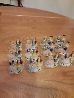 Antique Dresden Carl Thime ? Couple Place Card Holders Set Of 12
