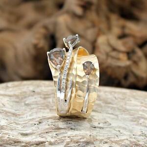 Diamant Rauchquarz Ring 14kt Gelbgold Gr 54/55 Handarbeit