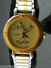 DISNEY EMBOSSED  MICKEY MOUSE  LADIES WATCH/DATE/  2 TONE METAL BAND