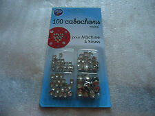 100 CABOCHONS METAL - pour machine à strass- 4 dimensions : 4,5-6-7-9 mm