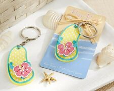 1 Flip Flop Tropical Flower Key Ring Key Chain Bridal Shower Wedding Favor Party