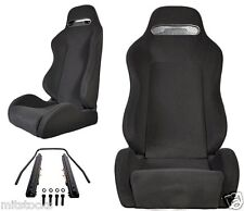 2 Black Cloth + Black Stitching Racing Seats RECLINABLE w/ Slider ALL BMW *