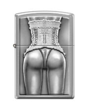 """Zippo """"Sexy Woman in Corset"""" Lighter, Brushed Chrome Finish, 2446"""