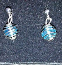 hand-made drop/dangle earrings- spiral cage - girls/ladies