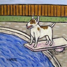 bull terrier dog art tile coaster gift Jschmetz at the pool impressionism animal