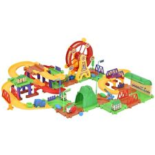 Plastic 79Pcs Brick Toys Electronic Building Blocks Railway Train W/ Light Music