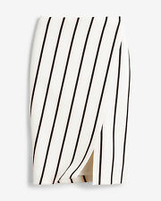 NWT WHITE HOUSE BLACK MARKET 2 ASYMMETRIC SLIT STRIPE PENCIL SKIRT $88