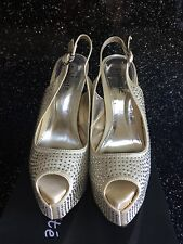 Wedding shoes  prom gold satin slingback open toe shoes size 6