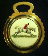 ELEGANT HUNTSMAN ON GREY HORSE Porcelain Harness Horse Brass WOW YOUR WALLS!