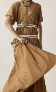 ZARA LIMITED EDITION STUDIO CONTRAST GATHERED DRESS BROWN M NEW