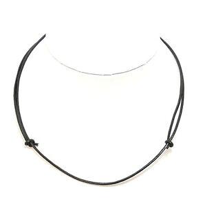 Mens Black Leather Cord Necklace Choker Adjustable Sliding Knots Costume Chain