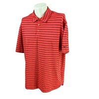 Nike Golf Men's Fit Dry Stretch Short Sleeve Red Orange Stripe Polo Shirt Large