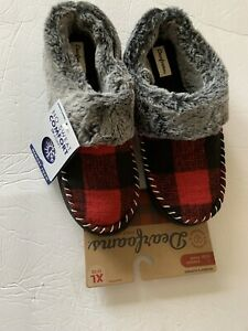 Dearfoams Women XL 11-12 Check Moccasin Clog Slippers All Weather Sole