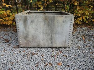 Weathered Vintage Riveted Galvanised Trough Garden Planter 61 cm square (1031)